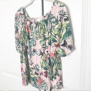 H&M Tropical Summer Off the Shoulder Blouse (T1)